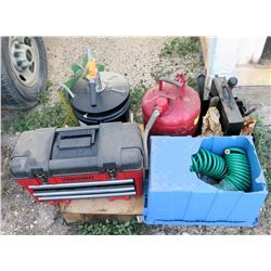 Craftsman Toolbox, Safe-T-Way Container, Napa Gear Oil, Air Hose, Gas Can, etc
