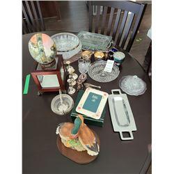 Crystal, Belleek, and silver plate