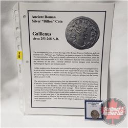 "ANCIENT: Roman Empire Silver ""Billon"" Coin Gallienus c. 253-268AD"