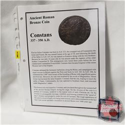 ANCIENT: Roman Empire Bronze Coin 337-350AD Constans