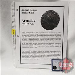 ANCIENT: Roman Empire Bronze Coin 383-408AD Arcadius