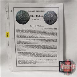 ANCIENT: Sassanian Silver Dirhem Khushro 531-579AD