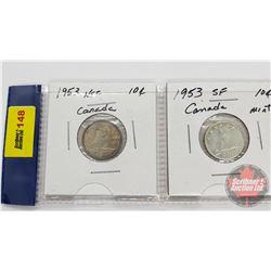 Canada Ten Cent - Strip of 2: 1953NSF; 1953SF
