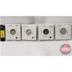Canada Ten Cent - Strip of 4: 1957; 1958; 1959; 1962