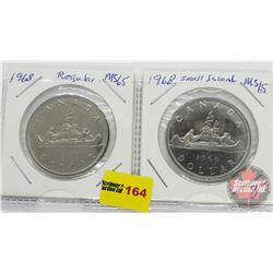 Canada One Dollar - Strip of 2: 1968; 1968