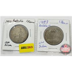 Australia Coins - Strip of 2: 1954; 1953