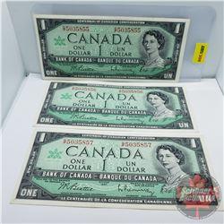 Canada $1 Bill 1967 (3 Sequential) : Beattie/Rasminsky GP5035855-856-857