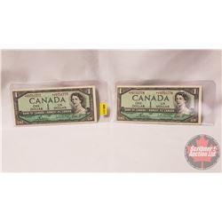 Canada $1 Bills 1954 * Replacement (2 Sequential) : Bouey/Rasminsky *CF0751777 / 778