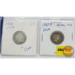 USA Dime - Strip of 2: 1906; 1907