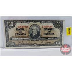 Canada $100 Bill 1937 : Gordon/Towers BJ3649018