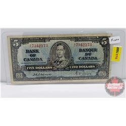 Canada $5 Bill 1937 : Osbourne/Towers AC7342173