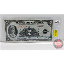 Bank of Canada $2 Bill 1935 : Osbourne/Towers A563178