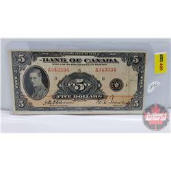 Bank of Canada $5 Bill 1935 : Osbourne/Towers A343334