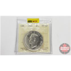 Canada Silver Dollar 1945 (ICCS Cert EF-40) Cleaned