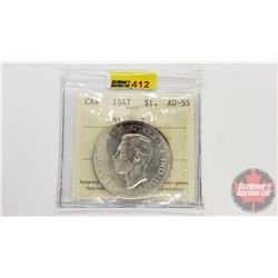 Canada Silver Dollar 1947 (ICCS Cert AU-55) Blunt 7