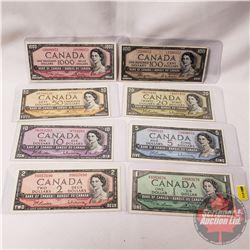 Canada Bills 1954 Series (8 Bills) : $1; $2; $5; $10; $20; $50; $100DF; $1000 (See Pics for Signatur