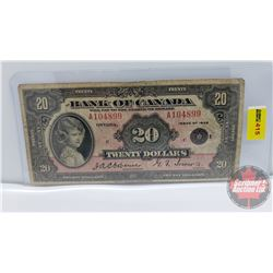 Bank of Canada $20 Bill 1935 : Osbourne/Towers A104899 (See Pics for Signatures/Serial Numbers)