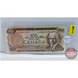 """Canada $100 Bill 1975 : Lawson/Bouey S/N#AJX0011219 """"Replacement Note"""" (See Pics for Signatures/Seri"""