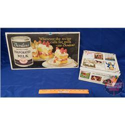"""Famous Inns Biscuit Tin (5""""x9""""x9"""") & Borden's Evaporated Milk Cardboard Advertisement (11""""x21"""") June"""