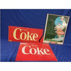 Coca-Cola Trio: 2 Lense Inserts & 1 Framed Puzzle (Insert : 12 x27  corner break  & 18  x 23-1/2 ) (