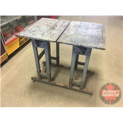 """Custom Built Rolling Table (2 Student Desks Joined together) (30-1/2""""H x 24""""W x 32-1/2""""L)"""