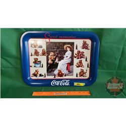 """Sweet Memories Coca-Cola Tray """"Teddy and Coke 1998""""  (Blue)  (13"""" x 18"""")"""