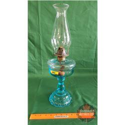 Coal Oil Lamp : M.B. Co. N.Y. Pat. Apl 30.83 : Aqua Base (20 H Total Height w/Chimney)