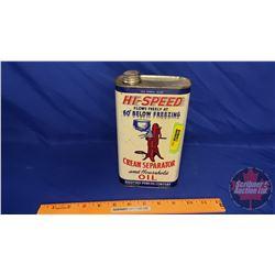 """Oil Tin: Hi-Speed Cream Separator Oil (8""""H x 4-1/2""""W x 2-1/2""""D)"""