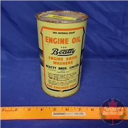 """Oil Tin: Beatty Engine Oil (6-1/2""""H x 4""""Dia)"""