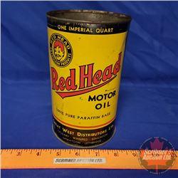 "Oil Tin: Red Head Motor Oil (6-1/2""H x 4""Dia)"