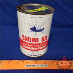 Oil Tin: Snobil Oil (5-1/2 H x 4 Dia)