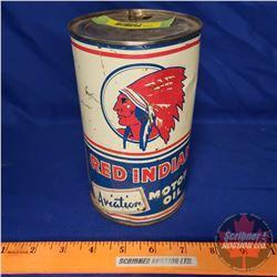 "Oil Tin: Red Indian Motor Oil (6-1/2""H x 4""Dia)"