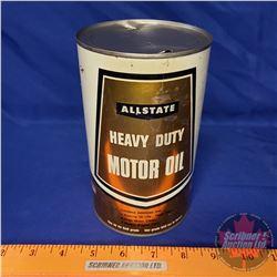 "Oil Tin: AllState Heavy Duty Motor Oil (6-1/2""H x 4""Dia)"