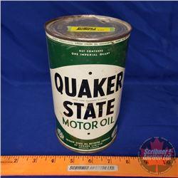 "Oil Tin: Quaker State Motor Oil (6-1/2""H x 4""Dia)"