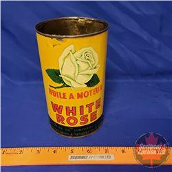 """Oil Tin: White Rose Motor Oil (6-1/2""""H x 4""""Dia)"""