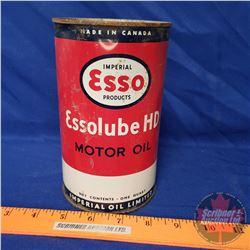 """Oil Tin: Esso """"Essolube"""" HD Motor Oil (6-1/2""""H x 4""""Dia)"""