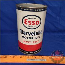 "Esso Marvelube Heavy Duty Motor Oil (6-1/2""H x 4""Dia)"