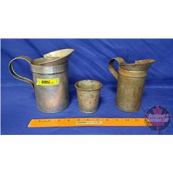 Oil Pitchers/Can: Pitcher - One Quart ; Pitcher - One Pint ; Measure Can - One Cup
