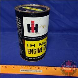 "Oil Tin: IH No. 1 Engine Oil (FULL) (6-1/2""H x 4""Dia)"