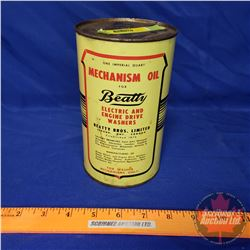 "Oil Tin: Beatty Mechanism Oil (FULL) (6-1/2""H x 4""Dia)"