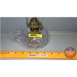 """Coal Oil Lamp: Bullseye Fat Hand Finger Lamp (Base Purple Tinge) (4-1/2""""H) (no Chimney)"""