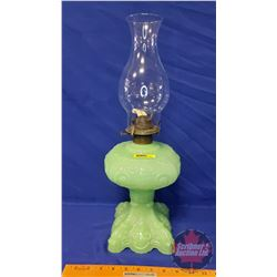"""Coal Oil Lamp: Princess Feather """"Victoria"""" : Light Jade Glass (19""""H Total Height w/Chimney)"""