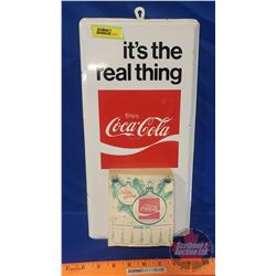"""Coca-Cola Tin Sign / Daily Calendar 1979 """"It's The Real Thing"""" (15""""H x 7-1/2""""W)"""