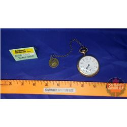 """Gold Filled Pocket Watch """"Banner"""" """"Zenith 15 Jewels"""" with Unique French Coin Watch Fob"""