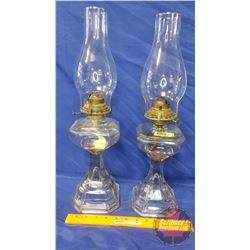 """Coal Oil Lamps (2): Colonial """"Queen Mary"""" (18-1/2""""H Total Height w/Chimney)"""