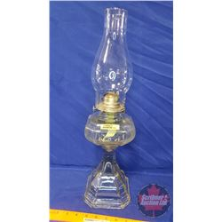 """Coal Oil Lamp: Colonial """"White-Flame"""" (19""""H Total Height w/Chimney)"""