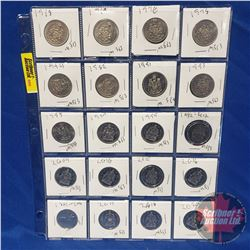 Canada Fifty Cent - Sheet of 20: 1968; 1969; 1970; 1978; 1994; 1982; 1991; 1993; 1995; 1997; 1999; 2