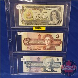 Canada Bills - Sheet of 3: 1973 $1 ; 1986 $2 ; 1986 $5 (See Pics for Signatures & Serial Numbers)
