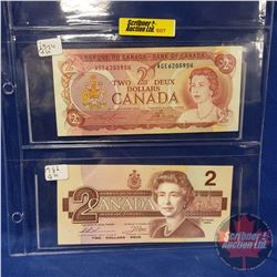 Canada Bills - Sheet of 2: 1974 $2 & 1986 $2 (See Pics for Signatures & Serial Numbers)