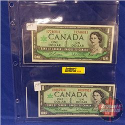 Canada Bills - Sheet of 2: 1967 $1 & 1967 $1 (See Pics for Signatures & Serial Numbers)